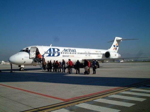 バルセロナ行き飛行機